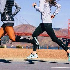 Women running.