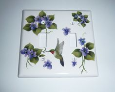 Purple violets/hummingbird double light by MoanasUniqueDesigns, $18.00
