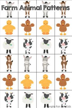 Free farm animal patterns printable with different ways to play and learn for preschoolers and kindergartners!