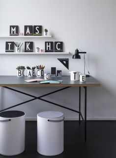 We expand our office series with a new triangle ruler, 3 new notebooks and erasers. New office concept with typography by Arne Jacobsen. www.designletters.dk