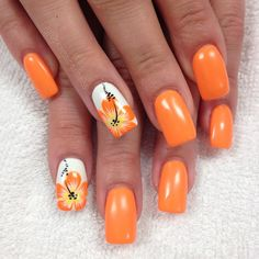 nail art designs 2019 nail designs for short nails step by step essie nail stickers nail art stickers walmart essie nail stickers nail designs designs for short nails 2019 full nail stickers nail appliques best nail wraps 2019 Flower Nail Designs, Short Nail Designs, Flower Nail Art, Nail Art Designs, Tropical Nail Designs, Tropical Nail Art, Orange Nail Designs, Tropical Flower Nails, Cute Summer Nail Designs