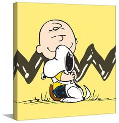 Description: Two of the most iconic Peanuts characters are featured in this canvas wall art. Charlie Brown hugs Snoopy in front of the famous black zig-zag stripe on Charlie's shirt. - Peanuts wall ar