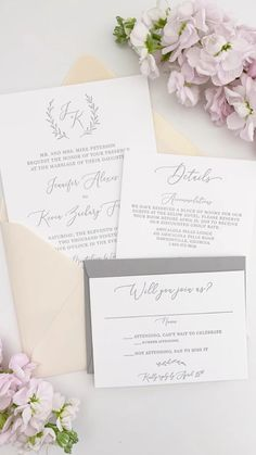 Grey letterpress monogram wedding invitations printed on double thick, 220# cotton cardstock for a super luxe feel! Say yes to texture - order a sample now!