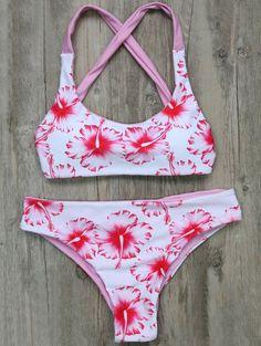 $17.99 Floral Criss Back Bikini Set - WHITE M