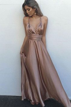 Champagne satins v-neck long evening dress,sexy summer dress with straps