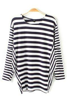 Stripes! Stripes! Stripes! Contrasting Stripe Print O-Neck  Loose Fitting Comfy T-shirt #Stripes #Fashion