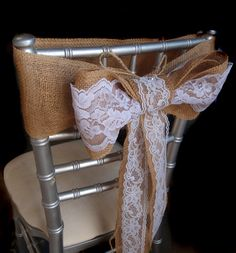 burlap and lace ribbon chair bow