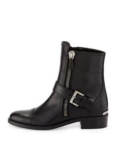 Miu Miu Side-Zipper Flat Ankle Boot