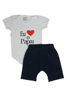 8875b4c60 Conjunto Victória Augusto Bebê Eu Amo O Papai Menino Azul-Marinho Branco