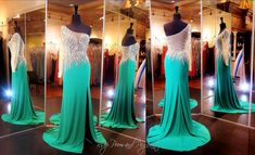 Emerald Green Prom or Pageant Dress-One Sleeve-Nude Illusion Bodice-Slit - 115EC01503900549