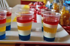 Just Another Day in Paradise: Superman Party: Layer Jell-O Cups Superman Birthday Party, Superhero Theme Party, 6th Birthday Parties, Birthday Ideas, 7th Birthday, Birthday Cake, Layered Jello, Party Entertainment, Party Time