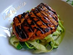 Pan-grilled pork with zucchini garlic ribbons. Heavenly succulent grilled pork with delicious zucchini ribbons in butter and garlic.
