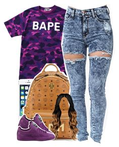 """"""""""" by yeauxbriana on Polyvore featuring A BATHING APE, MCM and Puma"""