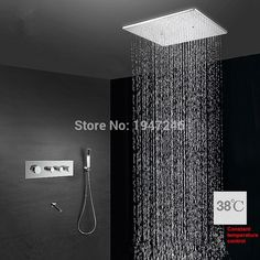 618.03$  Buy now - http://alidzi.worldwells.pw/go.php?t=32560711849 - 100% Brass Factory Direct Super Large Water Saving 40*40cm Shower Design Luxurious Rainfall Thermostatic Bathroom Mixer Tap Set