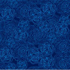 P & B Textiles House Designer - True Blue - Floral Etching in Navy