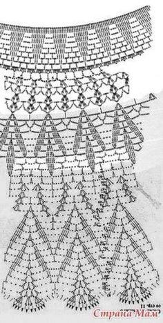 How to Crochet a Little Black Crochet Dress Crochet Skirt Pattern, Crochet Skirts, Crochet Diagram, Crochet Stitches Patterns, Crochet Chart, Crochet Clothes, Stitch Patterns, Knitting Patterns, Crochet Collar