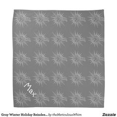 Gray Winter Holiday Reindeer Personalized Pet Wear Bandana