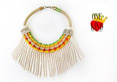 Pop Africa Rope necklacestatement by irinimichopoulou on Etsy Fringe Necklace, Tribal Necklace, Summer Necklace, Summer Jewelry, Unique Necklaces, Vintage Silver, Crystal Beads, Silver Color, Africa