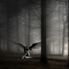 Dark, broken angel filled with the sorrow life has handed onto her