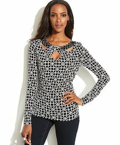 INC International Concepts Printed Beaded-Neck Cutout Top