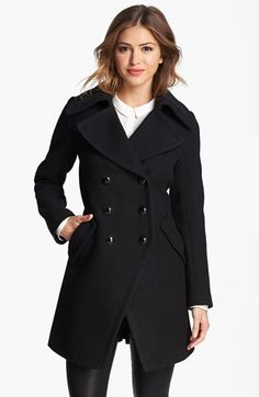 Trina Turk Double Breasted Officer's Coat (Regular & Petite) | Nordstrom