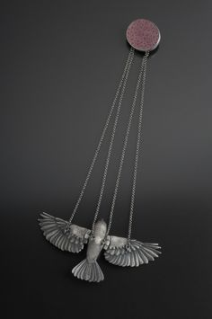 YURI TOZUKA COMPANION, NECKLACE  Sterling silver, fine silver, brain coral, peridot, onyx. Hand-carved, cast, and hand-fabricated.