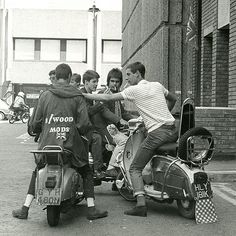 Mods on scooters in London, 1979
