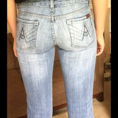 7 for all mankind jeans A pocket jeans, Great condition!  I'm assuming they are bootcut, if you'd like ankle width, just ask! 7 for all Mankind Jeans Boot Cut