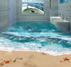 Bathroom with waves and shoreline flooring