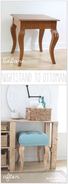 Wait till you see what these worn and used side tables turned into…Ottomans that's what and when you visit We Lived Happily Ever After you are going to get the full tutorial so you can turn any little night stand into an awesome Ottoman! You won't believe how simple it is and just think of …