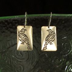 Odins Ravens Earrings, Etched Brass - Thought and Memory, Norse, Viking. $34.00, via Etsy.