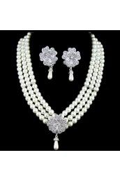Rhinestones Flower and Pearls Wedding Jewelry Set,Including Earrings and Necklace