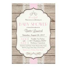 Vintage Rustic Shower Invitation, Baby or Bridal Card