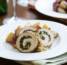 Spinach & Mushroom-Stuffed Pork Tenderloin with Sherry Cream Sauce Recipe