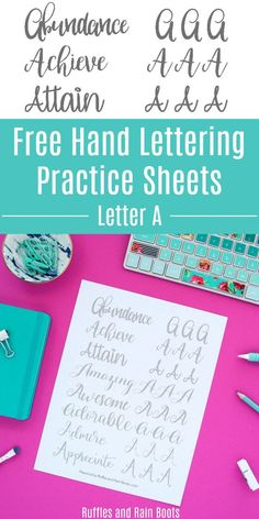 These free hand lettering practice sheets for the letter A will have you perfecting 8 different lettering styles. Lettering Practice Sheets, Calligraphy Practice, Fake Calligraphy, Calligraphy Worksheet, Calligraphy Handwriting, Modern Calligraphy Tutorial, Hand Lettering Tutorial, Lettering Styles, Brush Lettering