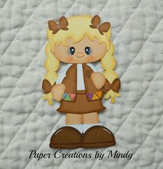 Brownie Girl Scout, premade paper piecing for scrapbooks pages albums borders