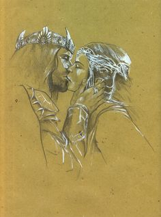 Arwen and Aragorn I just like the style (toned paper and a little highlight)… Fellowship Of The Ring, Lord Of The Rings, High Fantasy, Fantasy Art, Fantasy Romance, Aragorn And Arwen, Portrait Au Crayon, Toned Paper, Jrr Tolkien