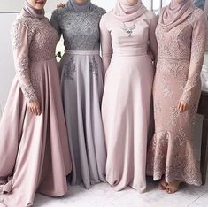 Neck Muslim High Neck Long Sleeves Grey Bridesmaid Dress with Kerchief Applique Lace A-line Wedding Party Dresses Muslim Prom Dress, Hijab Prom Dress, Hijab Gown, Hijab Evening Dress, Evening Dresses, Muslim Fashion, Hijab Fashion, Modest Dresses, Prom Dresses