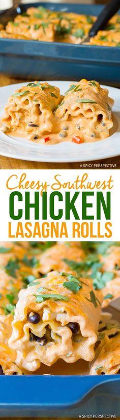 Cheesy Southwest Chicken Lasagna Rolls Recipe Recipes To Try Chicken Lasagna Rolls, Lasagna Rolls Recipe, Cooked Chicken, Lasagna Sauce Recipe, Cheesy Lasagna Recipe, Cheesy Pasta Recipes, Cheesy Chicken Pasta, Cheesy Chicken Casserole, Spinach Lasagna Rolls
