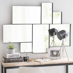 Spiegel met metalen lijst, zwart, hoogte 123 cm, BROOKLYN