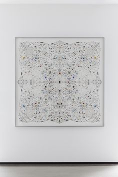 Leonardo Ulian: Technological Mandala 28' (2013), Electronic Components, Cooper wire on paper, Aluminium Frame, 152X152