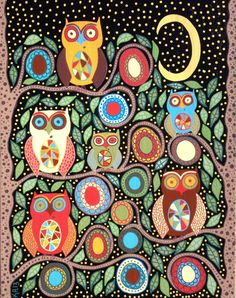 Kerri Ambrosino Art NEEDLEPOINT Mexican Folk Art  Night Guardian Owls Moon Stars Family Flowers on Etsy, $22.99