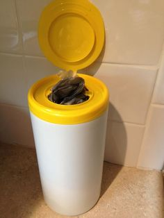 Save those old wipe containers, and reuse them for plastic bags!  #boating, #camping #outdoors