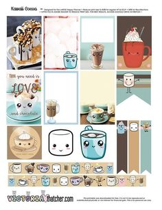 Free Printable Kawaii Cocoa Planner Stickers from Victoria Thatcher