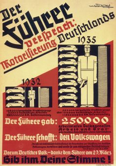 THE FUHRER ACCOMPLISHMENTS: MOTORIZE GERMANY! Authorship: Werner von Axster-Heudtlass; Country: Germany; Date: 1936