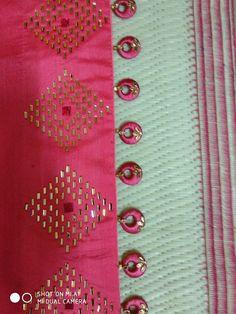 Simple pattu and silk saree kuchu design - Indian Fashion Ideas Saree Jacket Designs, Saree Tassels Designs, Saree Kuchu Designs, Saree Blouse Neck Designs, Dress Neck Designs, Fancy Blouse Designs, Bridal Blouse Designs, Hand Embroidery Dress, Hand Embroidery Designs