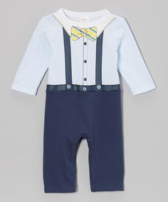Being a baby is no reason not to be a dapper gentleman. This wry playsuit incorporates savvy style with all the features Baby needs, including stretchy cotton and snaps in all the right places for easy changing.