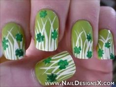 cute clovers nail art for St. Patricks day - Nail Designs & Nail Art
