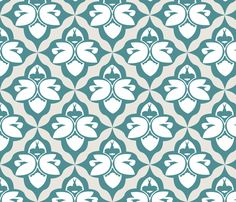 garden-damask-teal fabric by heatherrothstyle on Spoonflower - custom fabric