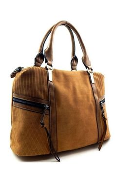 Taupe Felt Suede and Faux Leather Hangbag with Removable Shoulder Strap